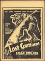 "#CH326-09 - Cesar Romero in ""Lost Continent"" Movie Poster Broadside - Rockets and Dinosaurs"