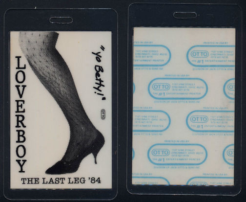 ##MUSICBP0061  - Scarce 1984 Loverboy Laminated OTTO Backstage Pass from The Last Leg Tour