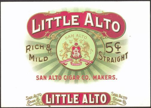 #ZLSC070 - Little Alto Inner Cigar Box Label