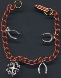 #BEADS837 - Copper Lucky Charm Bracelet with Charms - Horseshoe and Wishbone