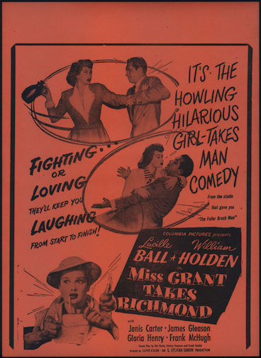 #CH326-23  - Lucille Ball Miss Grant Takes Richmond Movie Poster/Broadside