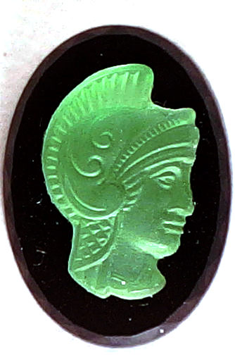 #BEADS0519 - 18mm Luminescent Glass and Plastic Cameo Featuring a Warrior - As low as 75¢ each