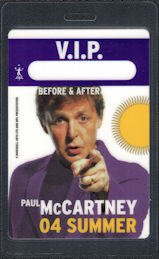 "##MUSICBP0578 - 2004 Paul McCartney VIP Laminated OTTO Backstage Pass from the ""Summer"" tour"