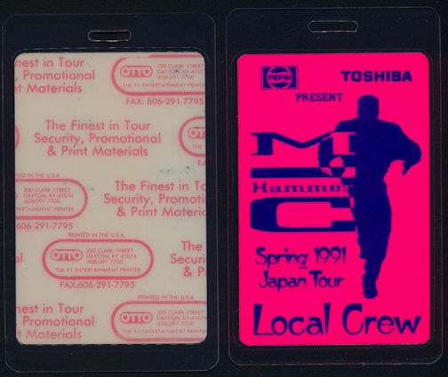 ##MUSICBP0337 - Laminated MC Hammer Local Crew Backstage Pass from the 1991 Japan Tour