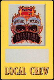 ##MUSICBP0478 - Michael Jackson OTTO Cloth Backstage Local Crew Pass from the 1992 Dangerous Tour