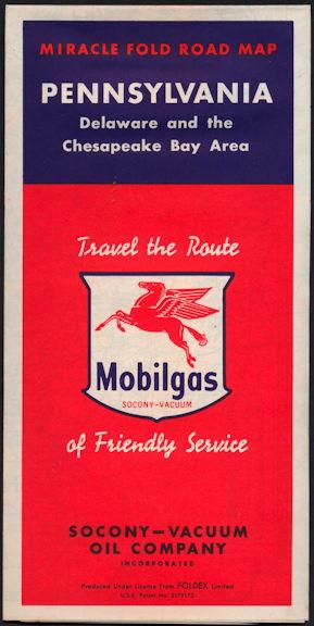 #CA117 - Mobilgas Pennsylvania Road Map with Large Pegasus Flying Horse