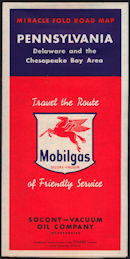 #CA117 - Mobilgas Pennsylvania Road Map with Large Pegasus Flying Horse