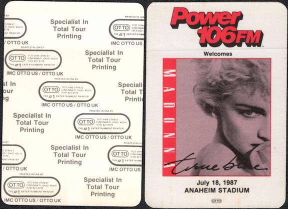 ##MUSICBP0532  - Rare Madonna OTTO Cloth Radio Pass from the True Blue Tour Concert at Anaheim Stadium
