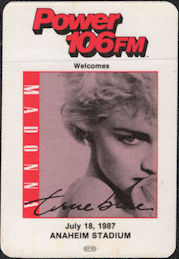 ##MUSICBP0532  - Rare Madonna OTTO Cloth Radio Pass from the True Blue Tour Concert at Anaheim Stadium
