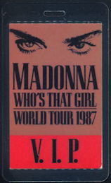 ##MUSICBP0352 - 1987 Madonna Whos That Girl Tour Laminated Backstage Pass - V.I.P.