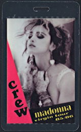 ##MUSICBP0319.1  - 1985/86 Madonna Laminated Backstage Pass from the Like a Virgin Tour