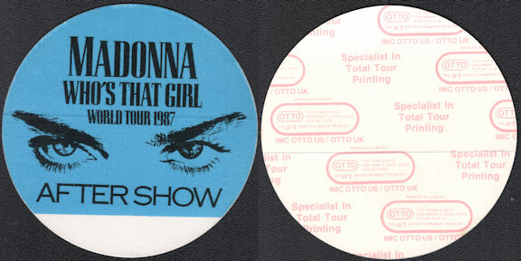 ##MUSICBP0634  - Madonna OTTO Cloth After Show Backstage Pass from the Who's That Girl Tour