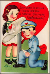 #HH103 - Large Diecut Mechanical Valentine with Mailman and with Original Envelope