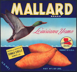 #ZLC426 - Scarce Mallard Louisiana Yams Crate Label - Mallard Duck