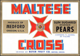 #ZLC458 - Maltese Cross Mountain  Pears Crate Label - Red Version