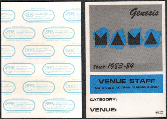 "##MUSICBP0557  - Scarce 1983/84 Genesis Mama Tour Cloth ""Venue Staff"" OTTO Backstage Pass"