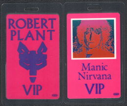 ##MUSICBP0822 - Rare Robert Plant (Led Zeppelin) Laminated OTTO VIP Backstage Pass from the 1990 Manic Nirvana Tour