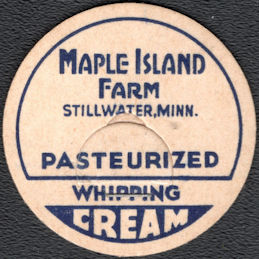 #DC247 - Maple Island Farm Pasteurized Whipping Cream Bottle Cap - Stillwater, MN