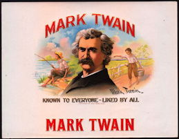 #ZLSC082 - Mark Twain Cigar Box Label Picturing Tom Sawyer and Huckleberry Finn