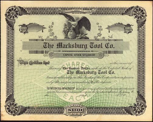 #ZZCE051 - Very Rare Marksburg Tool Co. Stock Certificate