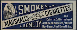 #SIGN166 - Smoke Marshall's Prepared Cubeb Remedy Cigarettes Paper Sign
