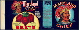 #ZLCA241 - Maryland Chief Beets Can Label with Indian Chief