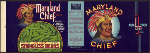 #ZLCA146 - Large Size Maryland Chief Stringless Beans Can Label with Indian Chief