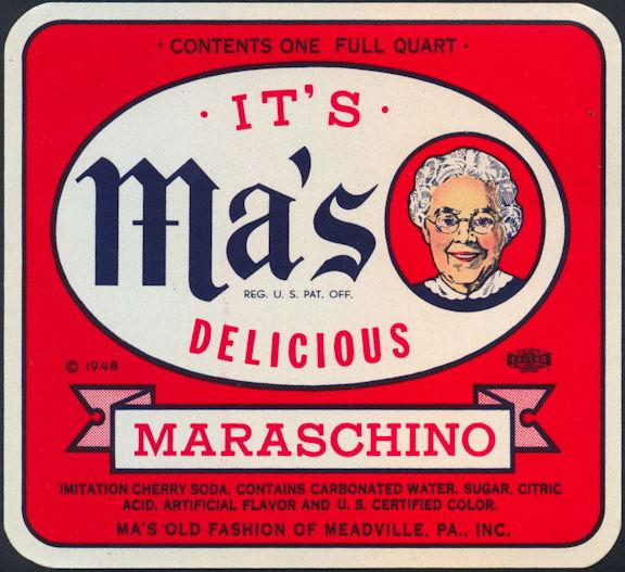 #ZLS225 - Ma's Maraschino Soda Bottle Label