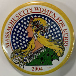 #PL381 - Women for Kerry 2004 Pinback Picturing a Blonde Hippie Looking Lady Liberty