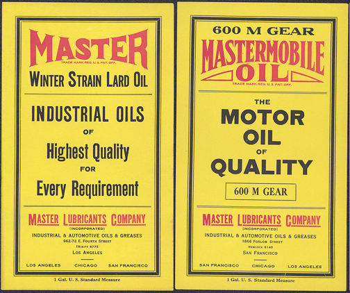 #ZLCA125 - Pair of Two Differnt Master Mobile Oil Can Labels