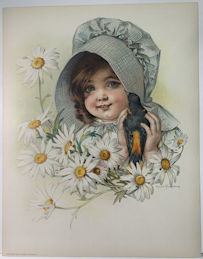 #MS332 - 1907 Victorian Print - Girl with Bird - Maud Humphrey