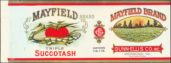 #ZLCA083 - Scarce Mayfield Triple Succotash Label