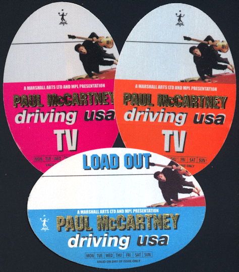 ##MUSICBP0199 - Paul McCartney OTTO Backstage Pass from the 2002 Paul McCartney Driving USA Tour - as low as $2.00 each