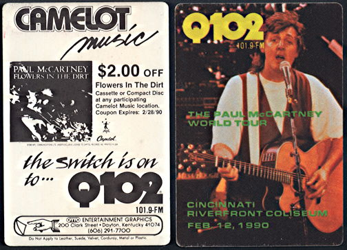 ##MUSICBP0271  - Paul McCartney OTTO Cloth Radio Pass from the 1990 Cincinnati Concert - As low as $3 each