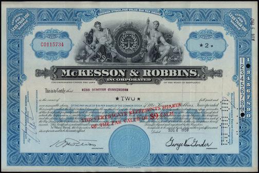 #ZZCE069 - McKesson & Robbins Incorporated Stock Certificate