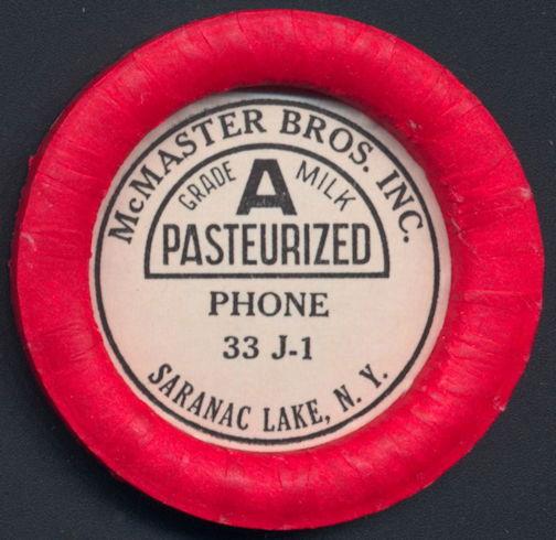 #DC177 - Large McMaster Bros. Inc. Pasteurized Grade A Milk Bottle Cap