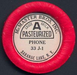 #DC177 - Large McMaster Bros. Inc. Pasteurized Grade A Milk Bottle Cap