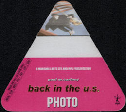 ##MUSICBP0528 - Paul McCartney Photographer OTTO Cloth Backstage Pass from the Driving USA Tour
