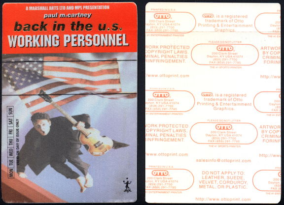 ##MUSICBP0391 - Paul McCartney Working Personnel OTTO Cloth Working Personnel Backstage Pass from the Driving USA Tour
