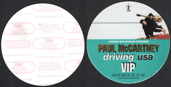 ##MUSICBP0199 - Paul McCartney OTTO Cloth VIP Backstage Pass from the 2002 Paul McCartney Driving USA Tour