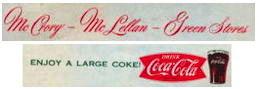 #CC336 - Group of 2 Coca Cola Menu Sheets from McCory McLellan Green Stores - Dimestore