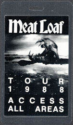 ##MUSICBP0631  - Meatloaf Laminated OTTO Backstage Access All Areas Pass from the 1988 Lost Boys and Golden Girls Tour