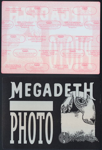 ##MUSICBP0296 - Pair of Rare Huge Oversized Megadeth OTTO Cloth Backstage Photo Passes from the 1999 Risk Tour