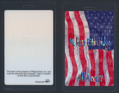 ##MUSICBP0056  - Rare 2002 Melissa Etheridge All Access Laminated Perri Backstage Pass from the Live and Alone Tour