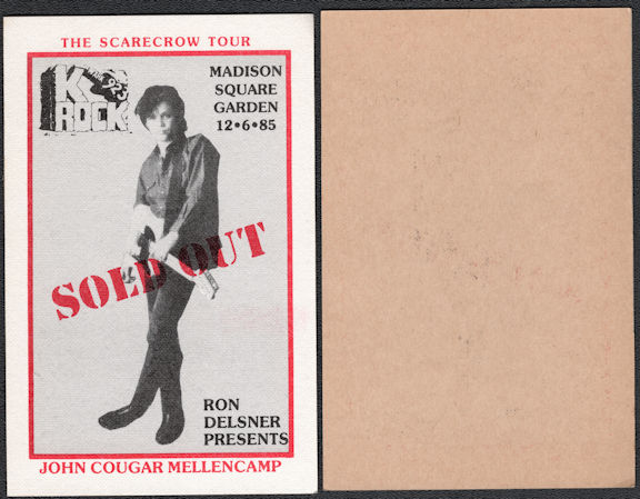 ##MUSICBP0630  - Rare 1985 John Cougar Mellencamp Cloth OTTO Sold Out Radio Pass from the Concert at Madison Square Garden