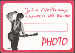 ##MUSICBP0718  - Huge John Mellencamp OTTO Cloth Backstage Photo Pass from the 1992 Whenever We Wanted Tour