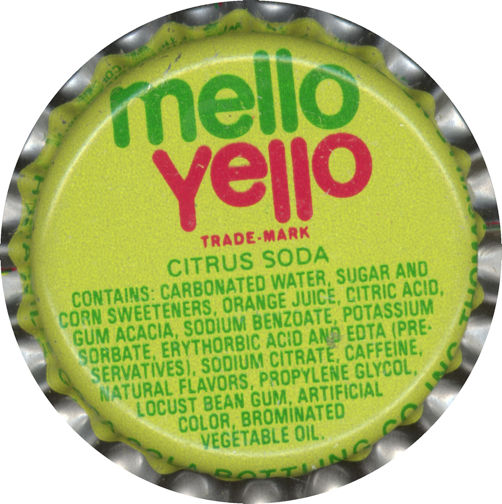 #BC060 - Group of 10 Mello Yello Bottle Caps - Yellow Version - (Coke Product)