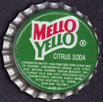 #BC082 - Group of 10 Mello Yello Bottle Caps - Green Version - (Coke Product)