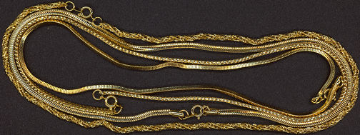 #BEADS0372 - Two Different Good Quality Men's Gold Chains from the Disco Era