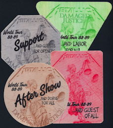 ##MUSICBP0276  - Metallica Cloth OTTO Backstage Pass from the 1988/89 Damage Justice Tour - As low as $4 each